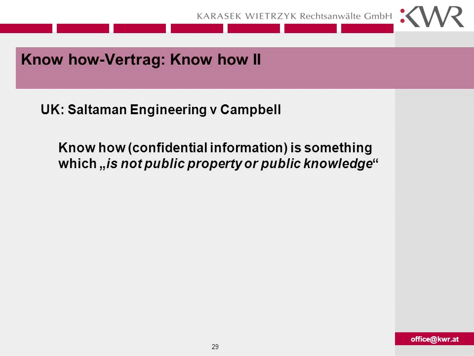 Know how-Vertrag: Know how II