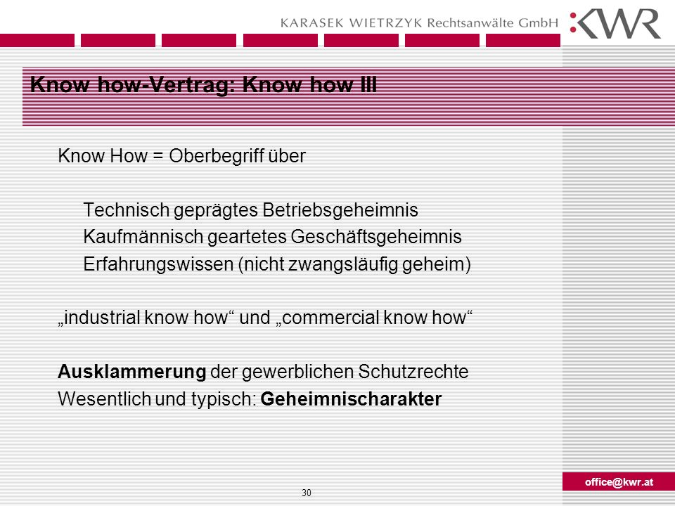 Know how-Vertrag: Know how III