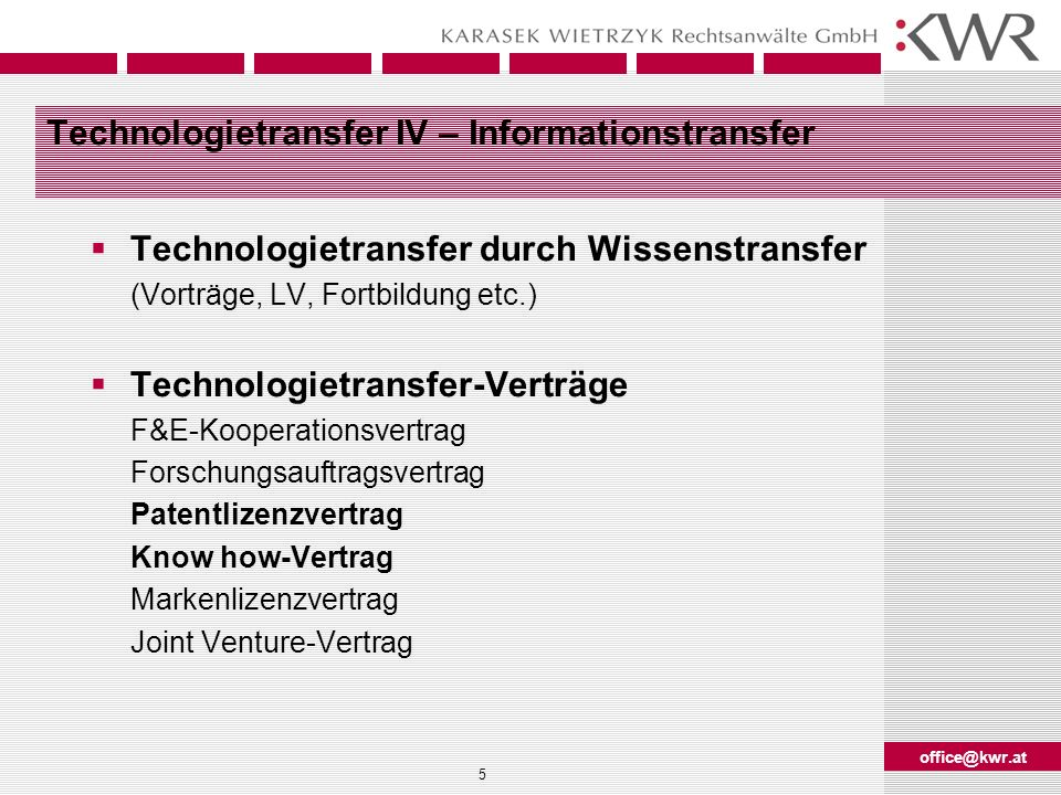 Technologietransfer IV – Informationstransfer