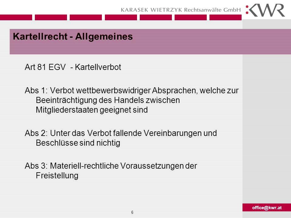 Kartellrecht - Allgemeines