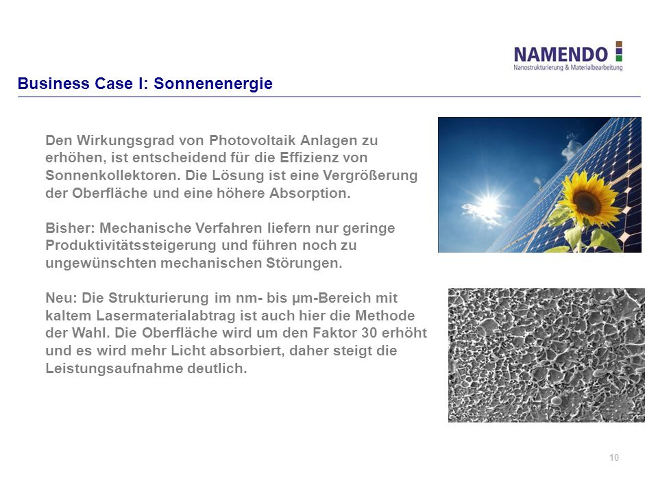 Business Case I: Sonnenenergie
