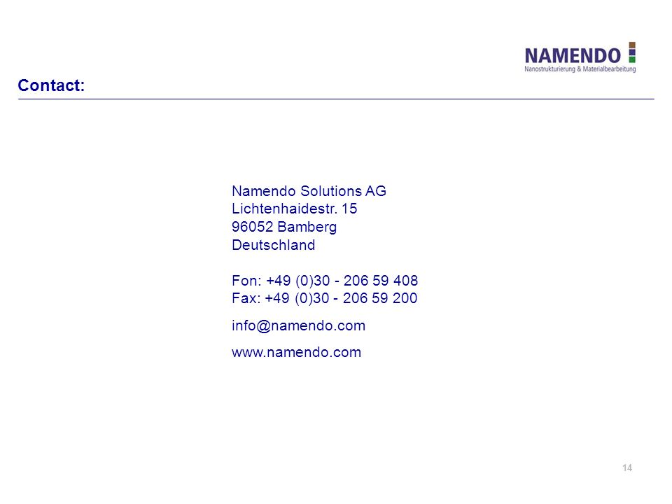 Contact: Namendo Solutions AG