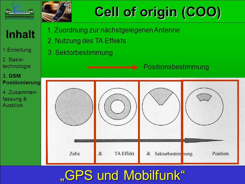 """Cell of origin (COO) """"GPS und Mobilfunk Inhalt"""