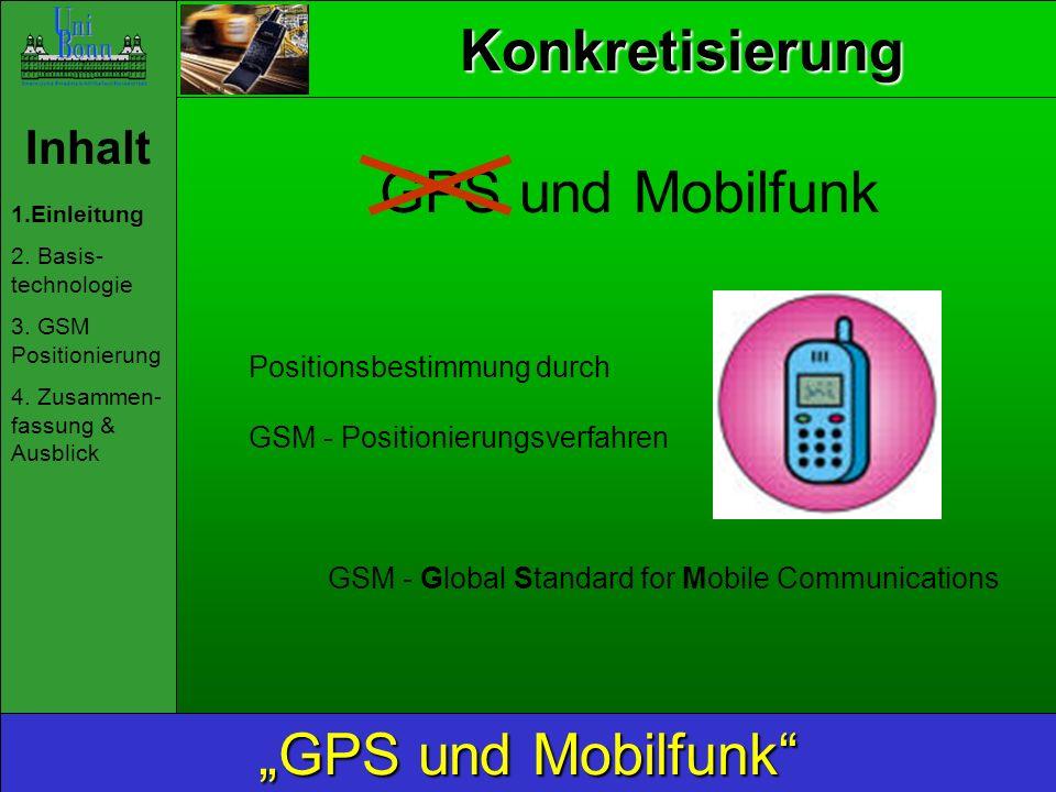 """Konkretisierung GPS und Mobilfunk """"GPS und Mobilfunk Inhalt"""