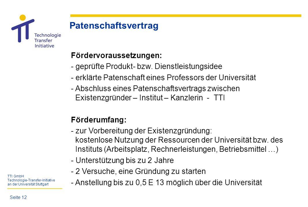 Patenschaftsvertrag Fördervoraussetzungen: