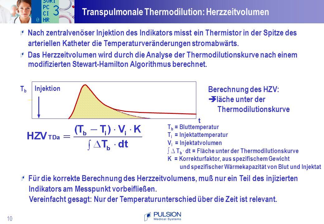Transpulmonale Thermodilution: Herzzeitvolumen