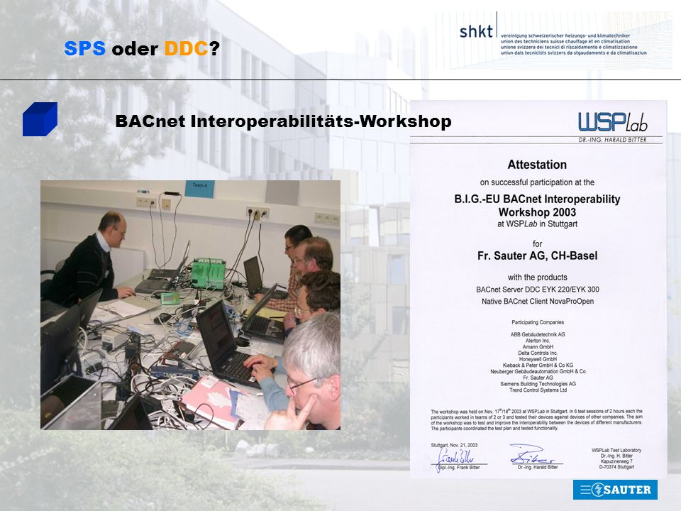 SPS oder DDC BACnet Interoperabilitäts-Workshop