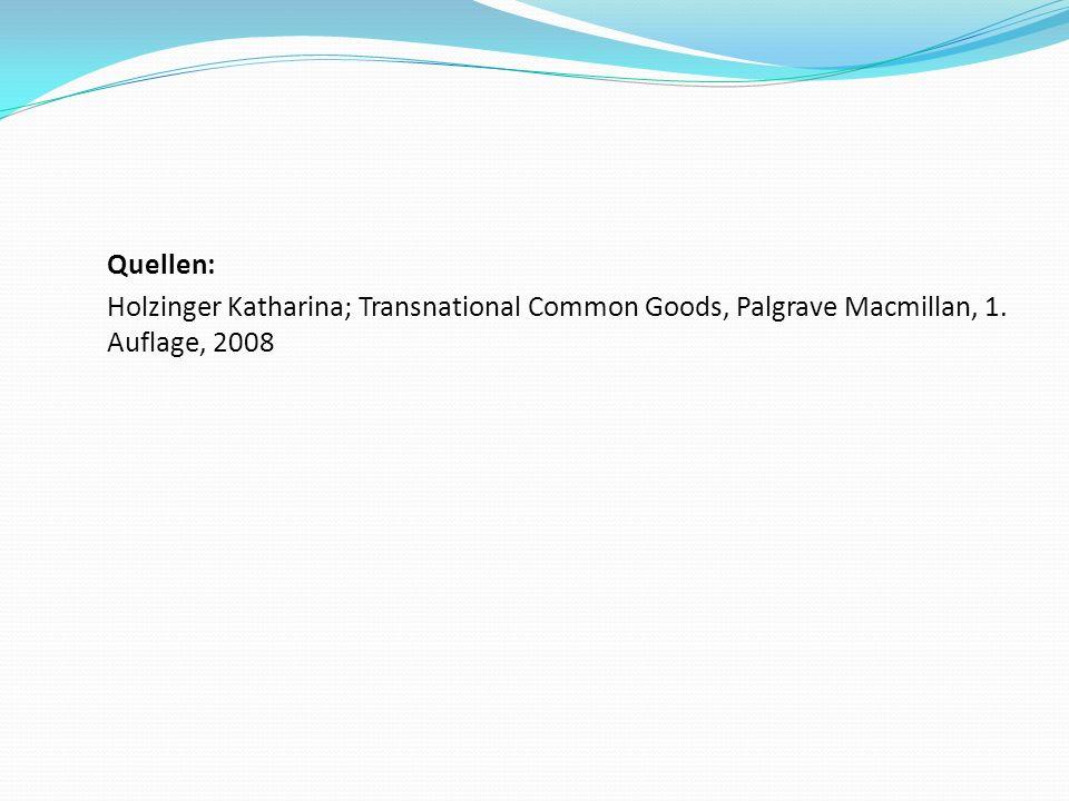 Quellen: Holzinger Katharina; Transnational Common Goods, Palgrave Macmillan, 1. Auflage, 2008
