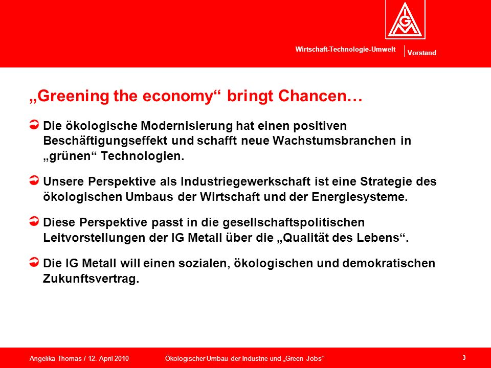 """Greening the economy bringt Chancen…"