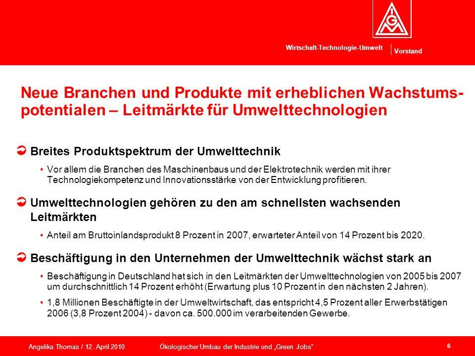 Neue Branchen und Produkte mit erheblichen Wachstums-potentialen – Leitmärkte für Umwelttechnologien
