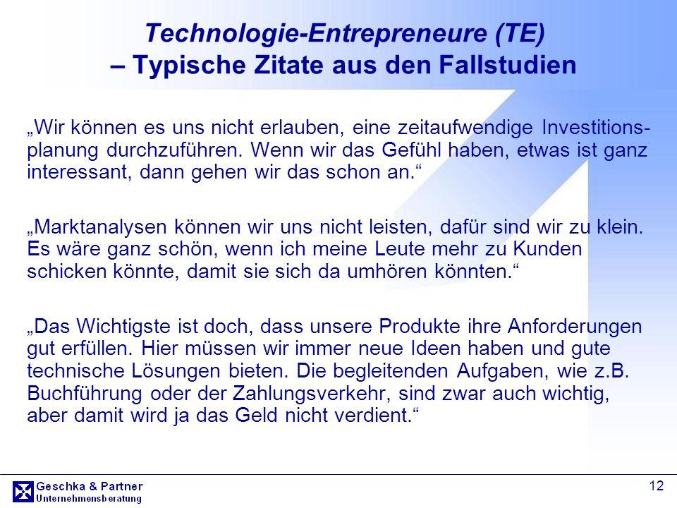Technologie-Entrepreneure (TE) – Typische Zitate aus den Fallstudien