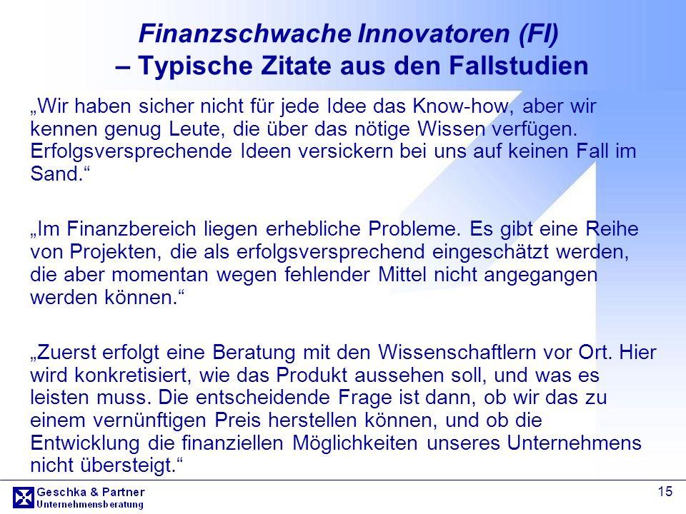 Finanzschwache Innovatoren (FI) – Typische Zitate aus den Fallstudien