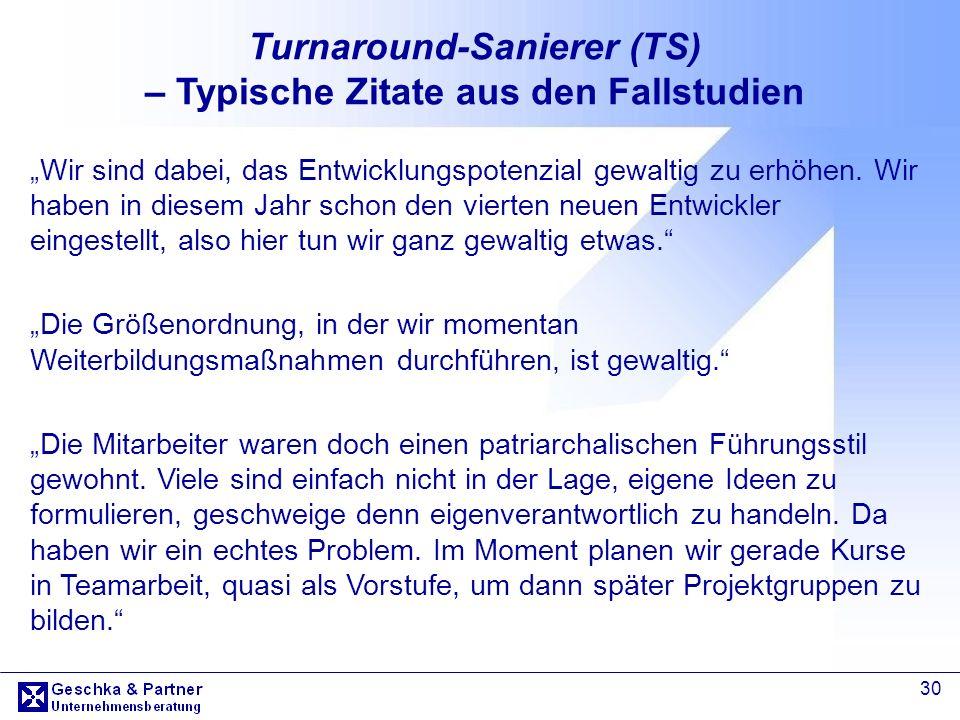 Turnaround-Sanierer (TS) – Typische Zitate aus den Fallstudien
