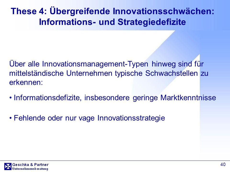 These 4: Übergreifende Innovationsschwächen: Informations- und Strategiedefizite