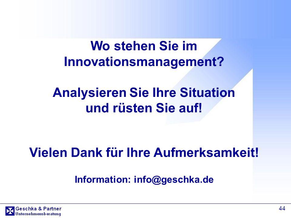 Vielen Dank für Ihre Aufmerksamkeit! Information: info@geschka.de