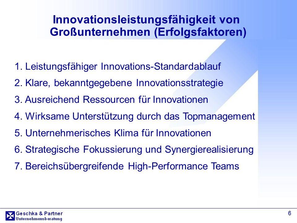 Innovationsleistungsfähigkeit von Großunternehmen (Erfolgsfaktoren)
