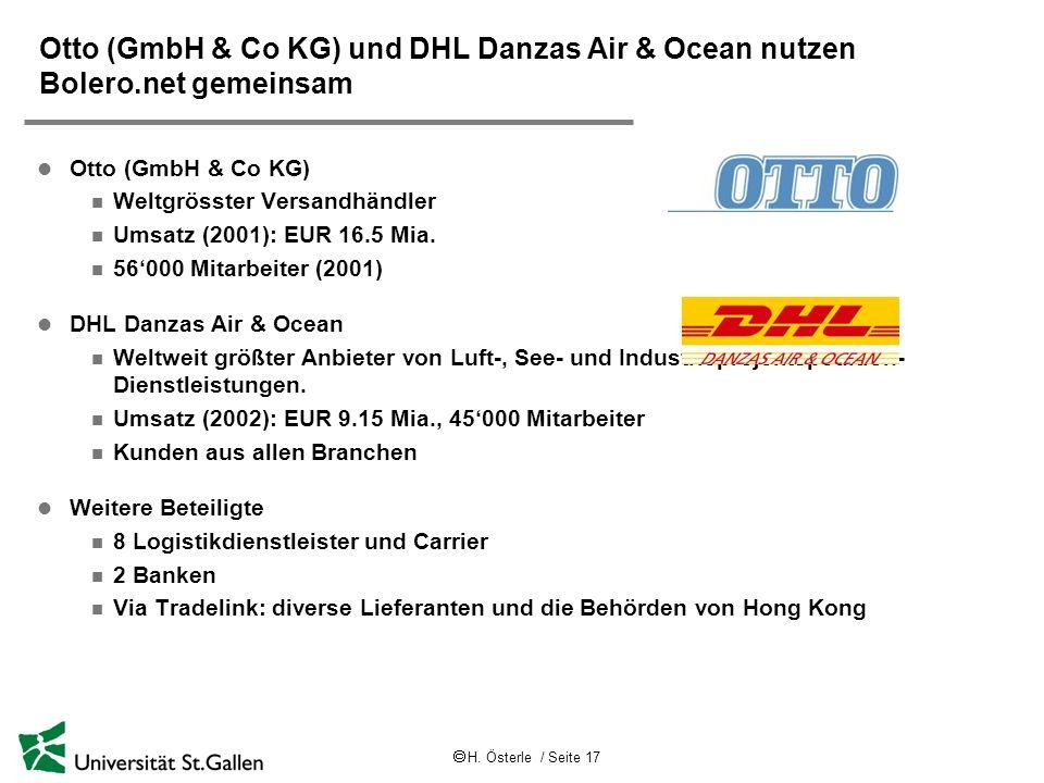 Otto (GmbH & Co KG) und DHL Danzas Air & Ocean nutzen Bolero