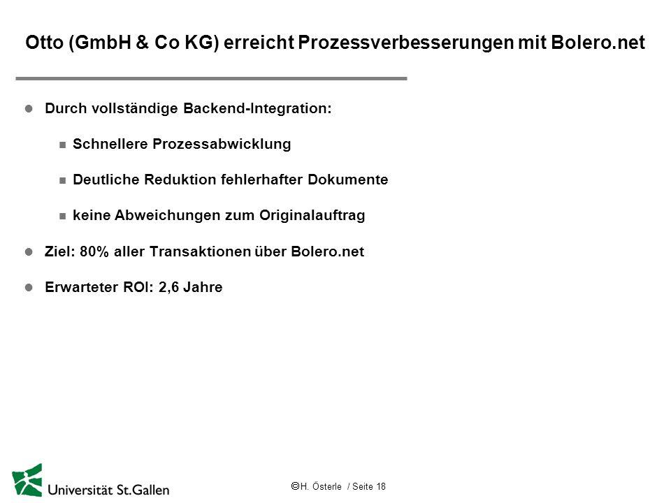 Otto (GmbH & Co KG) erreicht Prozessverbesserungen mit Bolero.net