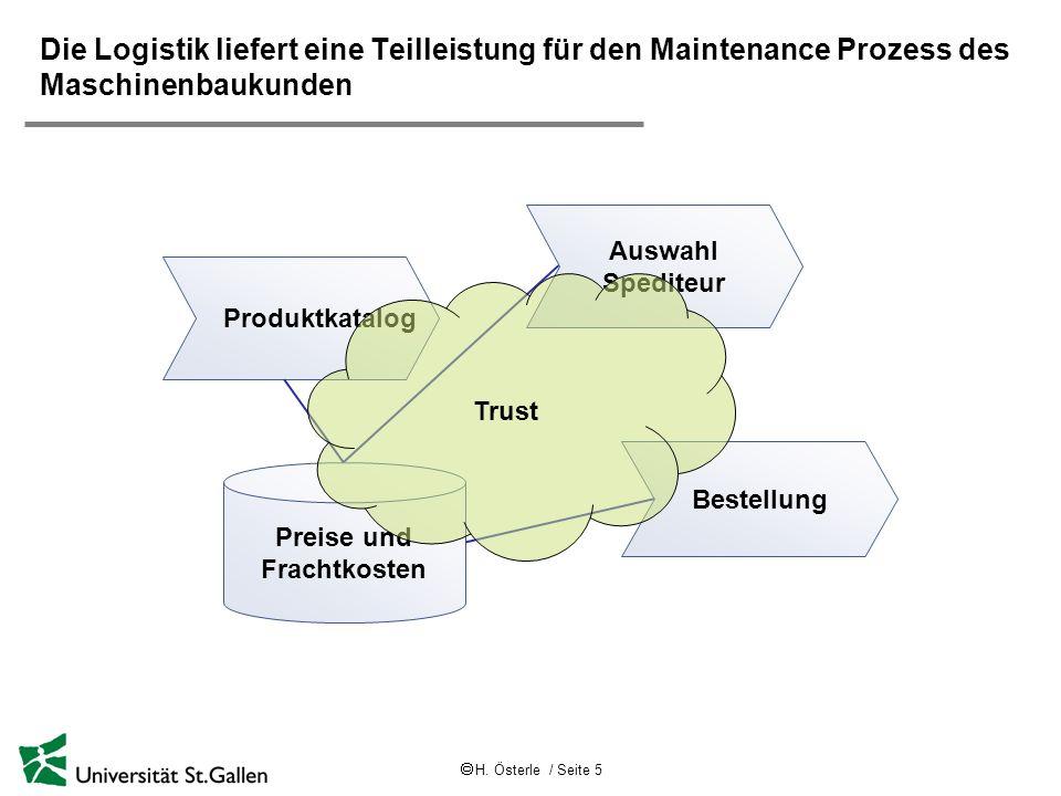 Die Logistik liefert eine Teilleistung für den Maintenance Prozess des Maschinenbaukunden