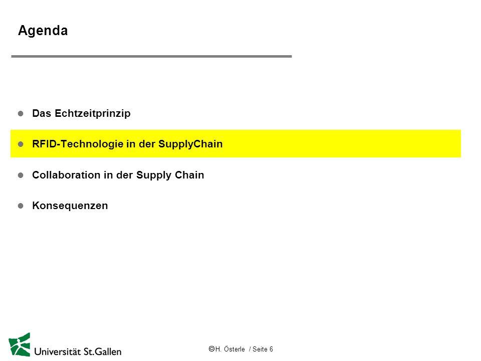 Agenda Das Echtzeitprinzip RFID-Technologie in der SupplyChain