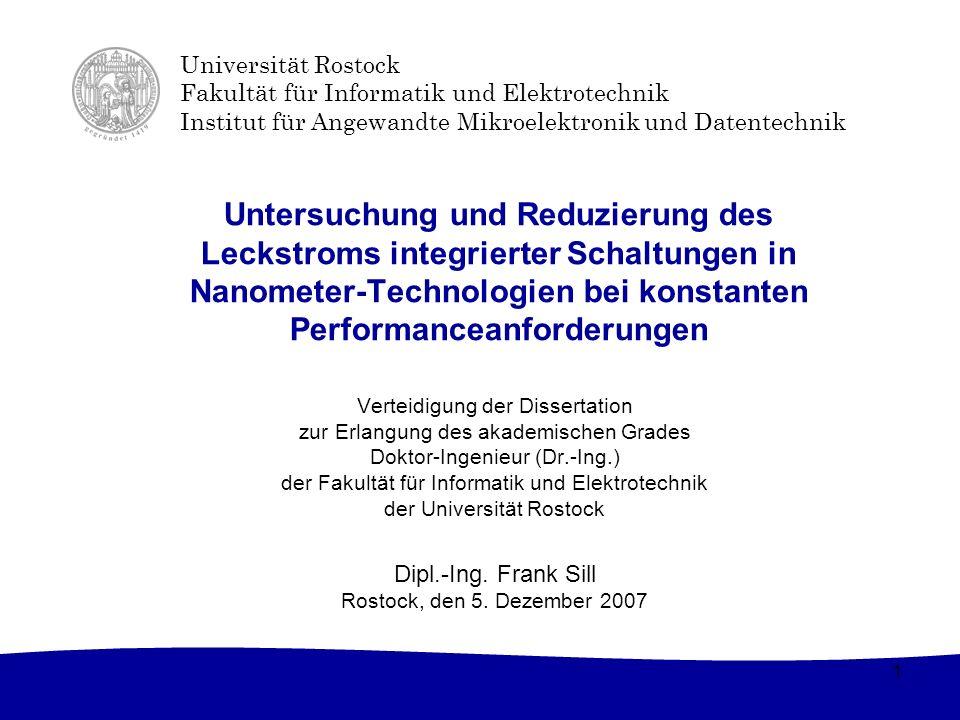 Untersuchung und Reduzierung des Leckstroms integrierter Schaltungen in Nanometer-Technologien bei konstanten Performanceanforderungen