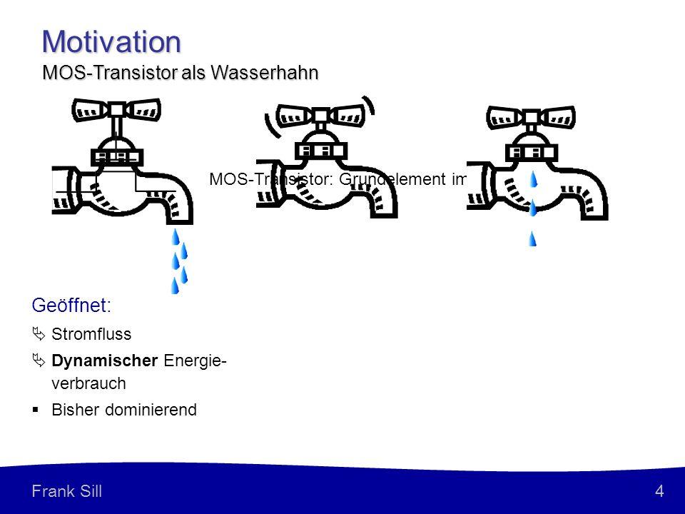 Motivation MOS-Transistor als Wasserhahn Geöffnet: Gesperrt (ideal):