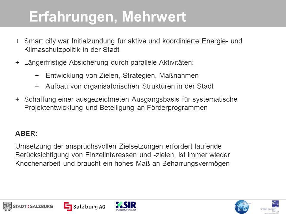 Erfahrungen, Mehrwert Smart city war Initialzündung für aktive und koordinierte Energie- und Klimaschutzpolitik in der Stadt.