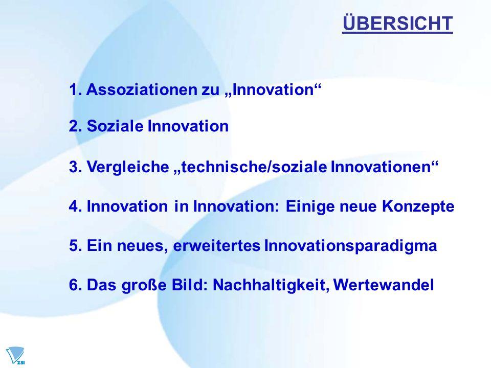"""ÜBERSICHT 1. Assoziationen zu """"Innovation 2. Soziale Innovation"""