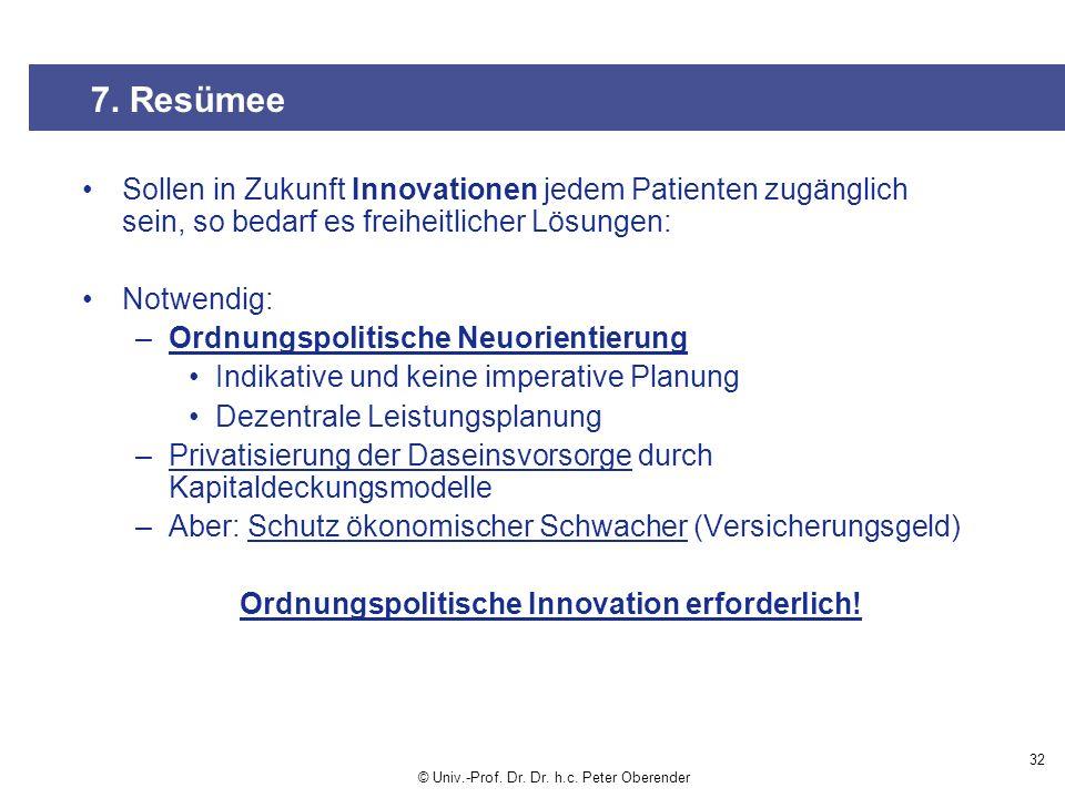 Ordnungspolitische Innovation erforderlich!