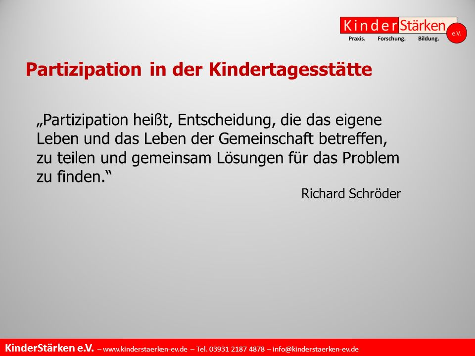 Partizipation in der Kindertagesstätte