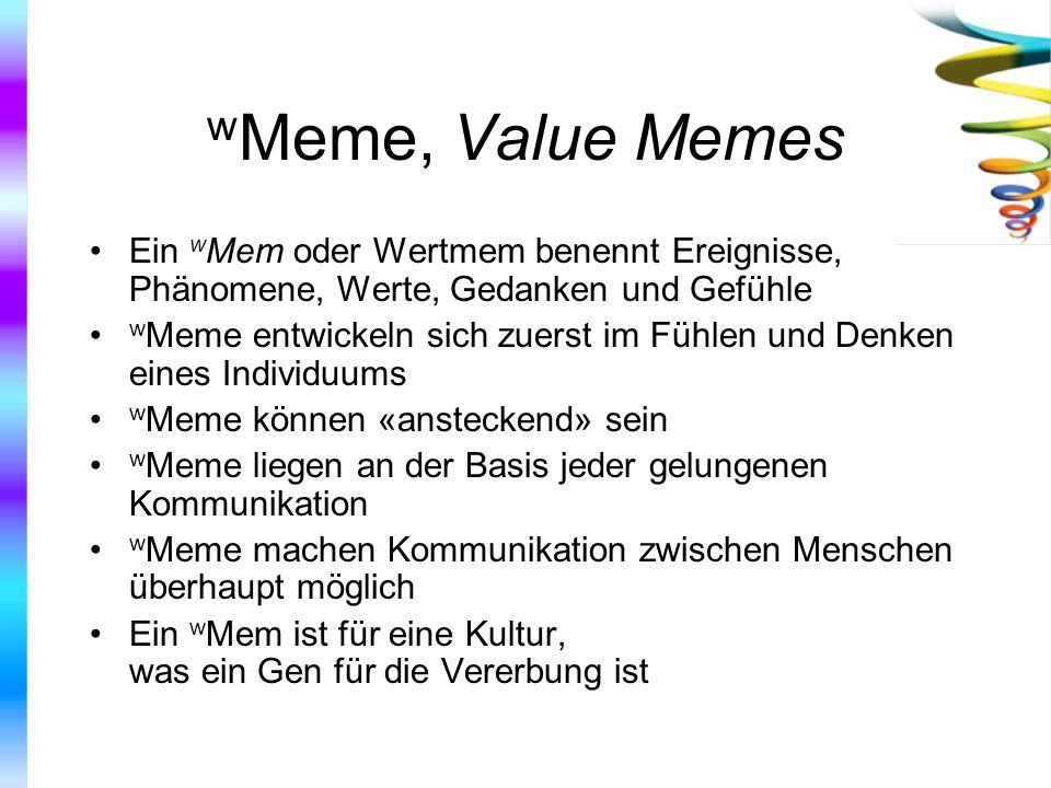 wMeme, Value Memes Ein wMem oder Wertmem benennt Ereignisse, Phänomene, Werte, Gedanken und Gefühle.