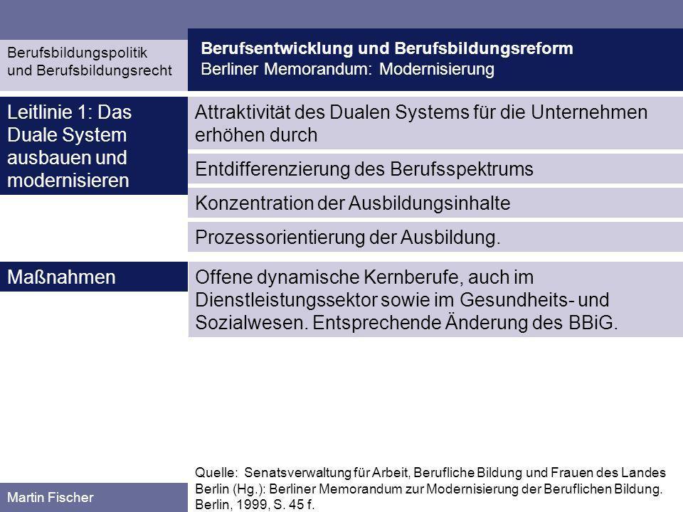 Leitlinie 1: Das Duale System ausbauen und modernisieren