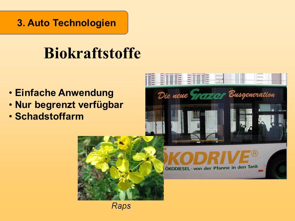 Biokraftstoffe 3. Auto Technologien Einfache Anwendung