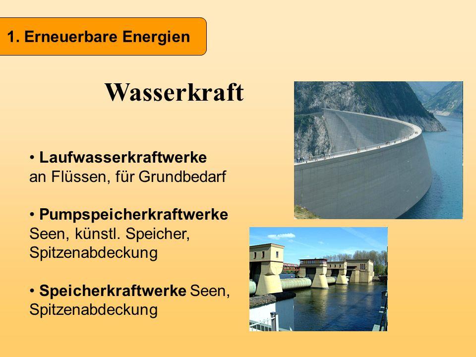 Wasserkraft 1. Erneuerbare Energien Laufwasserkraftwerke