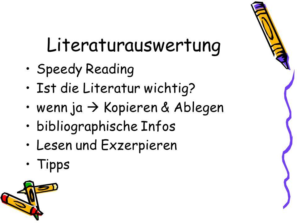 Literaturauswertung Speedy Reading Ist die Literatur wichtig