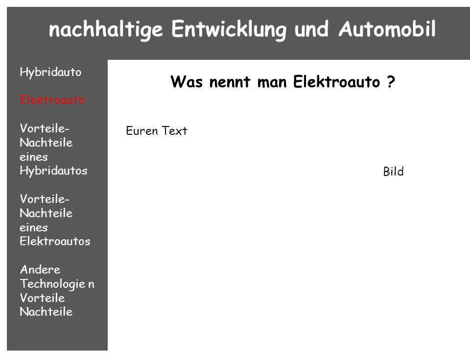 Was nennt man Elektroauto