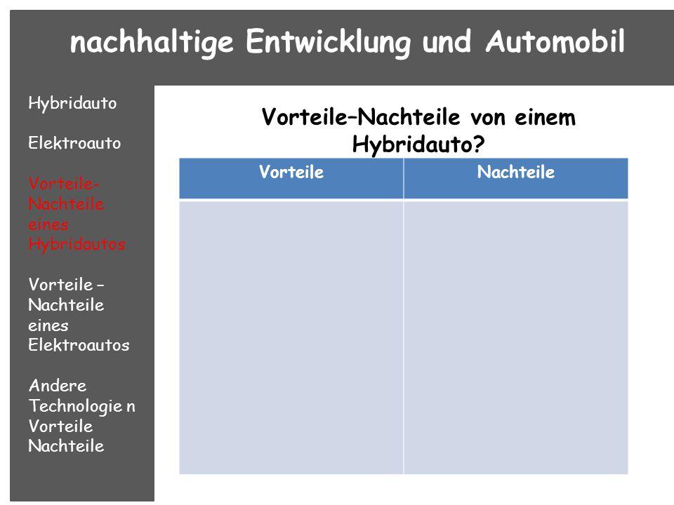 Vorteile–Nachteile von einem Hybridauto