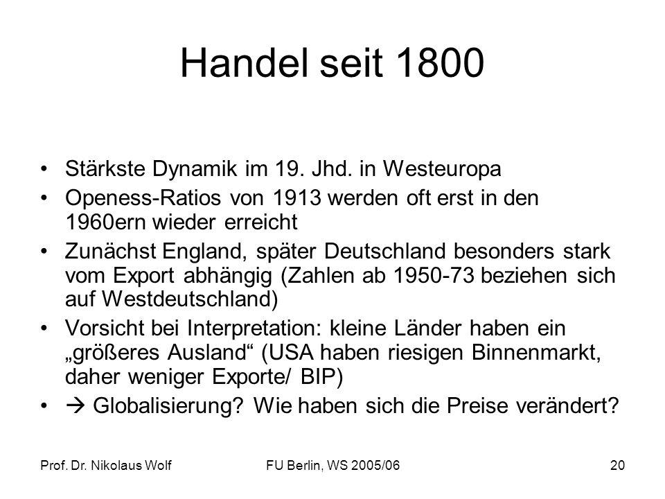 Handel seit 1800 Stärkste Dynamik im 19. Jhd. in Westeuropa
