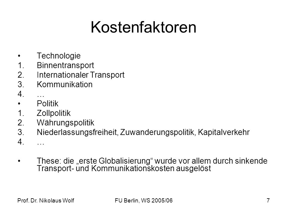 Kostenfaktoren Technologie Binnentransport Internationaler Transport