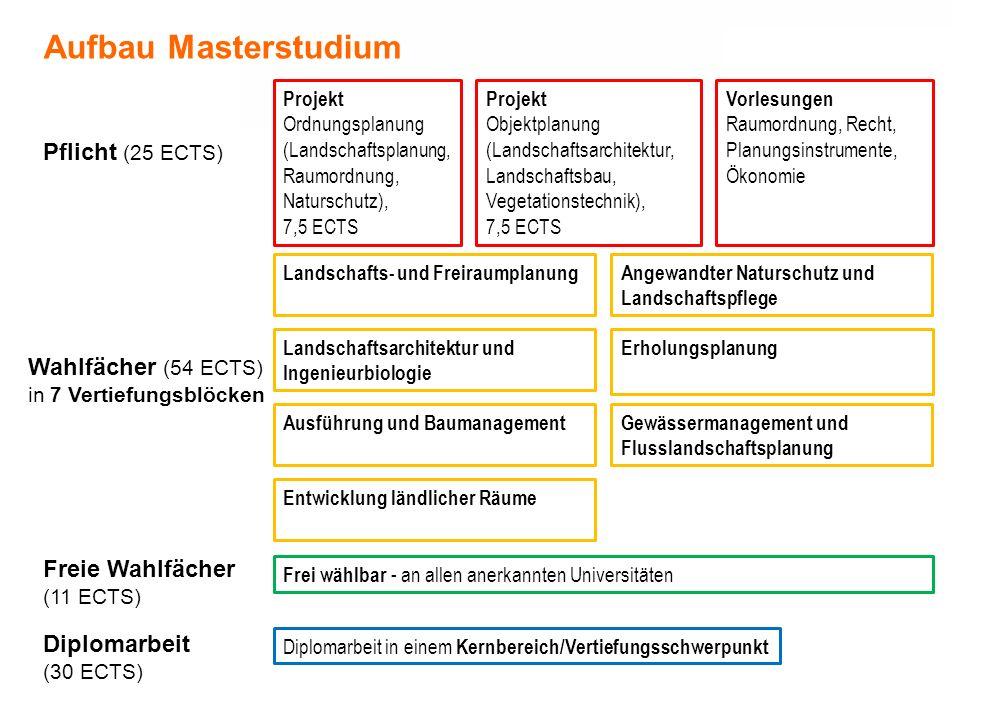 Aufbau Masterstudium Pflicht (25 ECTS) Wahlfächer (54 ECTS)