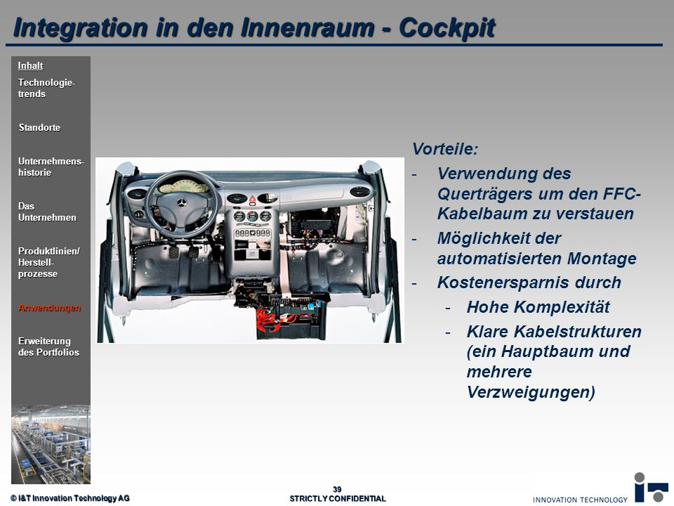 Integration in den Innenraum - Cockpit