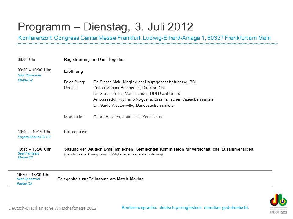 Programm – Dienstag, 3. Juli 2012