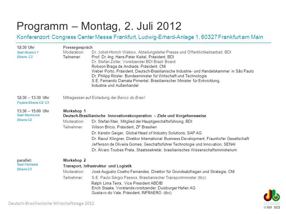 Programm – Montag, 2. Juli 2012 Konferenzort: Congress Center Messe Frankfurt, Ludwig-Erhard-Anlage 1, 60327 Frankfurt am Main.