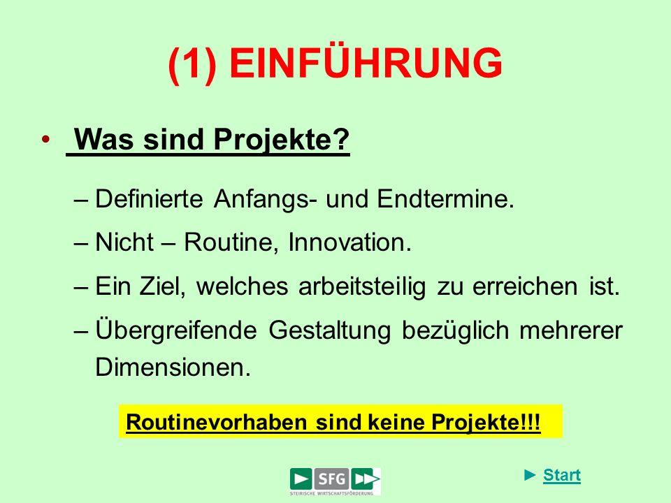 (1) EINFÜHRUNG Was sind Projekte Definierte Anfangs- und Endtermine.