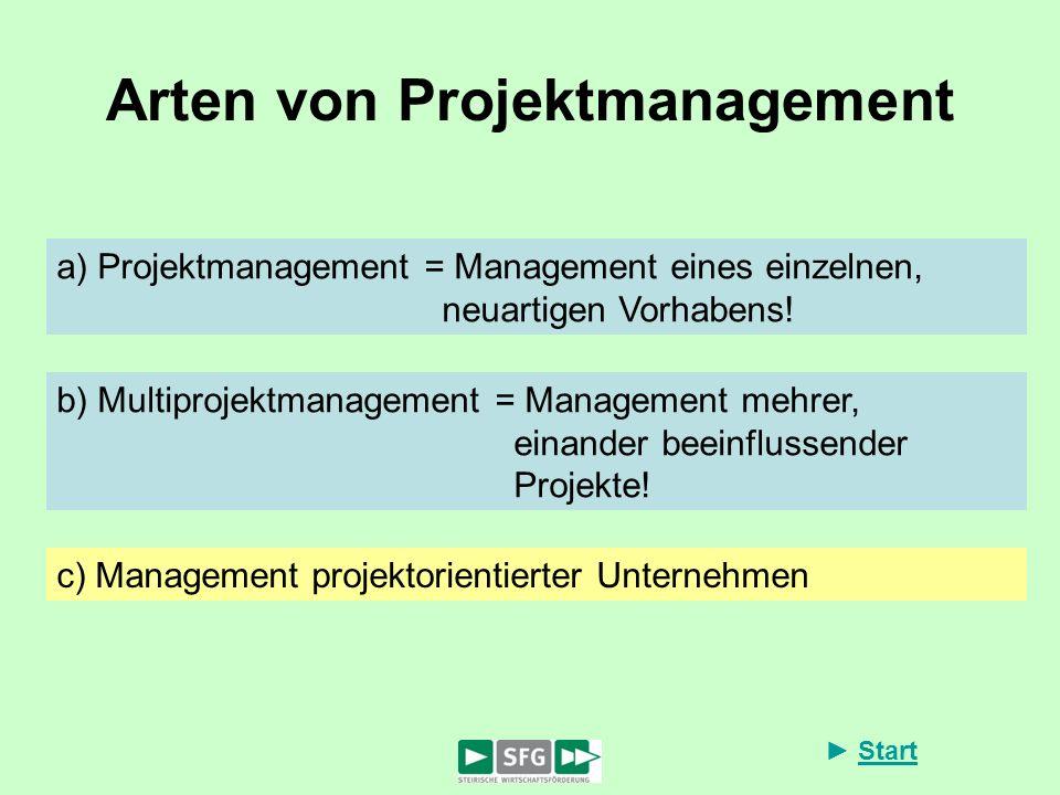 Arten von Projektmanagement