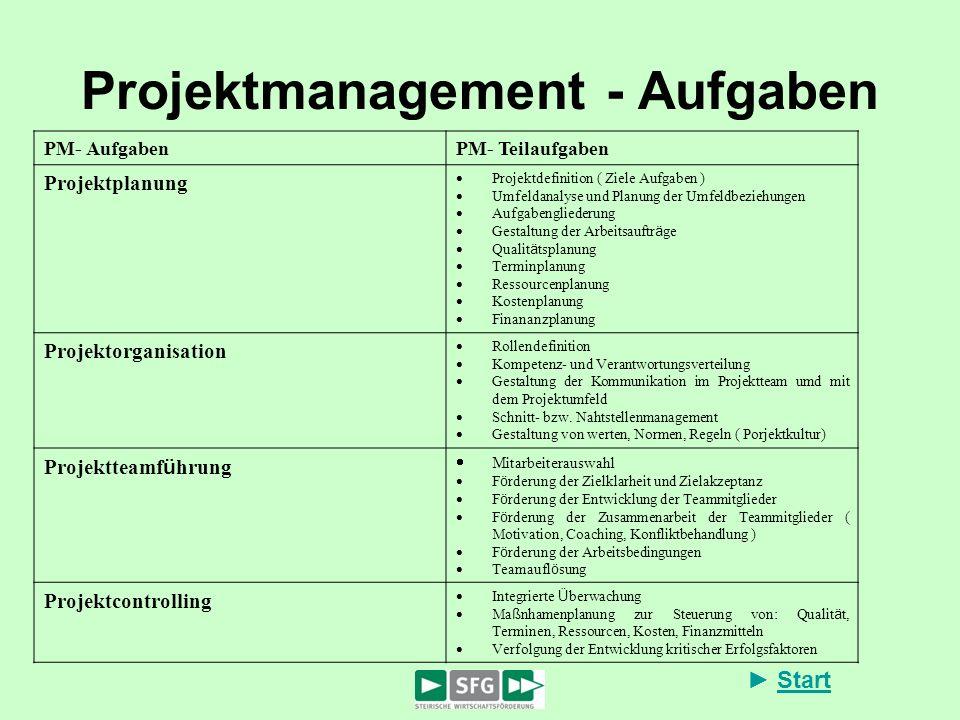 Projektmanagement - Aufgaben