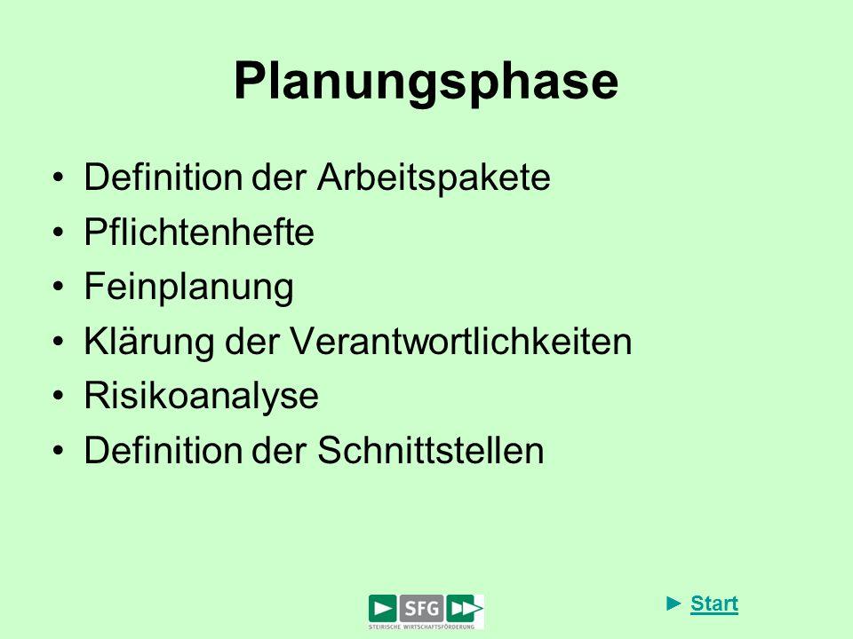Planungsphase Definition der Arbeitspakete Pflichtenhefte Feinplanung