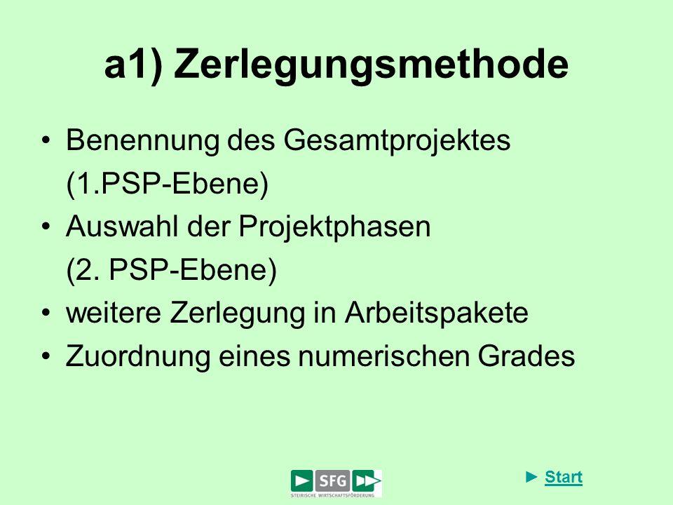 a1) Zerlegungsmethode Benennung des Gesamtprojektes (1.PSP-Ebene)