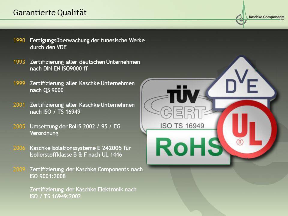 Garantierte Qualität Fertigungsüberwachung der tunesische Werke durch den VDE. Zertifizierung aller deutschen Unternehmen nach DIN EN ISO9000 ff.