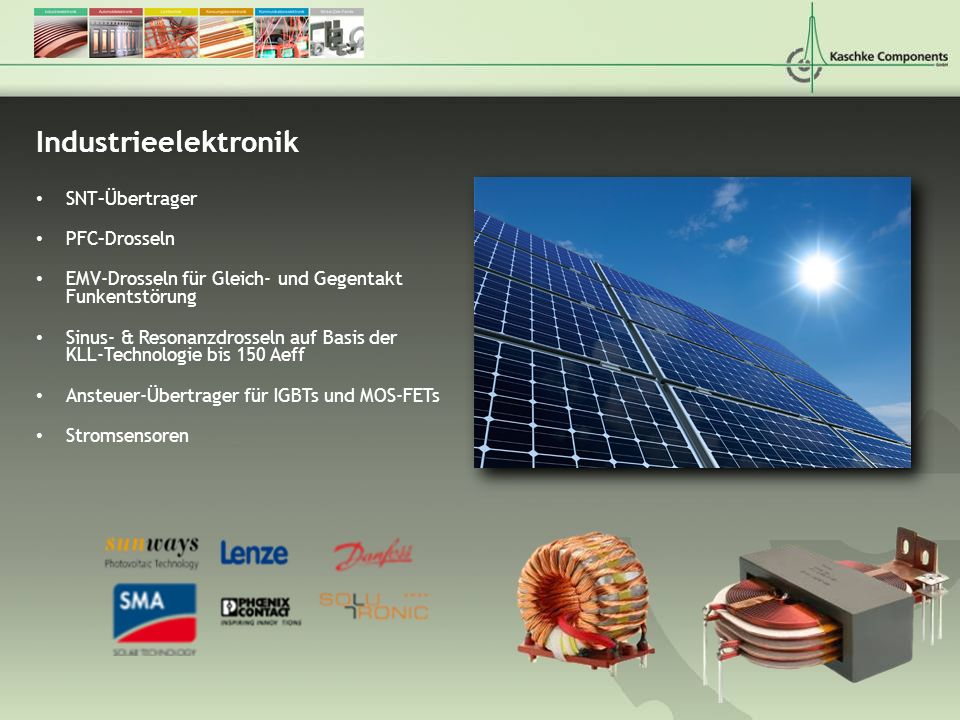 Industrieelektronik SNT–Übertrager PFC–Drosseln